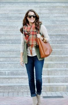 tartan scarf outfit, How to dress chic and warm in winter http://www.justtrendygirls.com/how-to-dress-chic-and-warm-in-winter/
