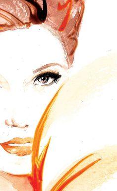 Peach Watercolor Fashion Lady Art High Glamour A4