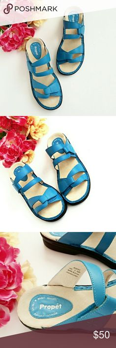 """🌼🌼1 Day Sale Propet Blue Comfort Sandals🌼🌼 Look sassy and chic in the sandal that has two hook and loop closures at forefoot and instep for comfortable custom fit & easy on/off with adjustability. Soft, supple upper with leather lining and durable outsole for traction and sturdiness. Heel height approx: 1 1/4"""". **Ask Questions B4 U Buy** Propet Shoes Sandals"""