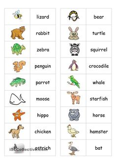 Animal Dominoes - English ESL Worksheets for distance learning and physical classrooms Learning English For Kids, Kids English, English Words, English Lessons, Teaching English, Learn English, English Language, English Games, English Activities