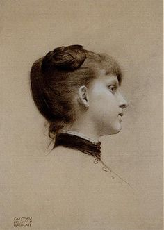 Pierre noire et craie blanche par Gustave Klimt