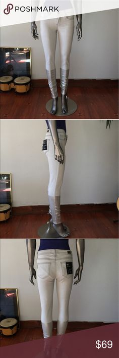 """Paige """"Verdugo"""" Ankle Ultra Skinny Jeans Silver 26 Paige """"Verdugo"""" Ankle Ultra Skinny Jeans Silver 26 in light gray wash & with hand-applied silver Italian foil Below knee for a futuristic, metallic dipped look. Snug fit & will stretch with wear. Mannequin is wearing Bodysuit underneath. Size 26- equivalent to as 2. This is too large on me. I'm a size 0- 24/25 jeans. New w/out tags Paige Jeans Jeans Skinny"""