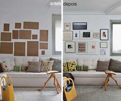 Maneira fácil de não se perder na organização dos quadros!! Primeiro faz um esquema dos mesmos com papel, depois é só prender na parede!