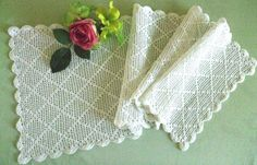 Crocheted Table Runner Dresser Scarf by TheSweetBasil on Etsy, $12.00