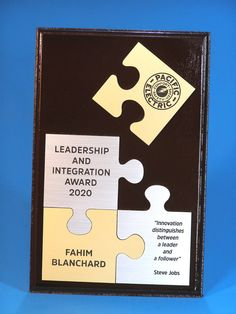 Sometimes you just need something different as an award.  Why not choose a jigsaw puzzle award? Great for business awards. Trophies And Medals, Distinguish Between, Some Ideas, Jigsaw Puzzles, Leadership, Innovation, Awards, Business, Puzzle Games