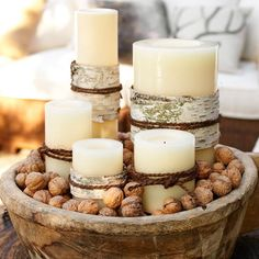 25 Creative Christmas Centerpiece Ideas 2013 : Awesome Rustic Christmas Candle Centerpiece Decoration with Handmade Wooden Bowl Filled by Large Candles and Beans for Creative Christmas Table Ideas Christmas Table Centerpieces, Candle Centerpieces, Centerpiece Decorations, Christmas Decorations, Thanksgiving Decorations, Wedding Centerpieces, Wedding Decorations, Large Candles, Pillar Candles