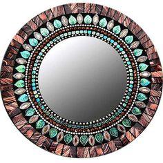 """10"""" Mirror Mahogany & Aqua"""