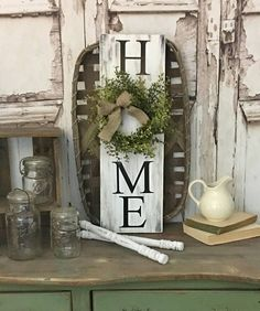 HOME sign with wreath Sign with Wreath Rustic Wreath Sign Vertical HOME sign Greenery Wreath Distressed Home Sign Farmhouse Decor Farmhouse Signs, Rustic Farmhouse, Farmhouse Style, Primitive Homes, Diy Signs, Home Signs, Country Decor, Rustic Decor, Country Living