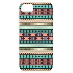 Mint and Peach Aztec Pattern iPhone 5 Case #mint #peach #aztecpattern #aztec #tribal #iphonecase #iphonecover #iphone5