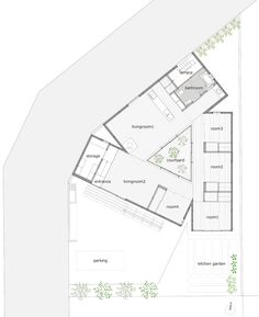 playing off the triangular shape of the plot, the single-storey dwelling arranges three boxesto pivot and overlap around a central light-filling courtyard.