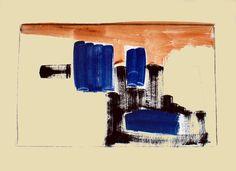 Jean-Paul BARRAY, Abstraction, gouache sur papier, vers 1960. Technique : gouache sur papier, cachet sec de l'atelier, 51 X 67 cm
