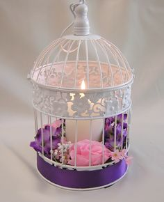 Purple Wedding Centerpieces | ... Purple Green Wedding Birdcage Card Holder Bird Cage Centerpieces Your