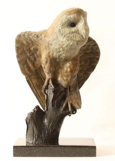 Bronze Birds Sculptures or statue by artist Bill Prickett titled: 'Barn Owl (bronze Life Like Perched sculpture/statue/statuette/figurine)'