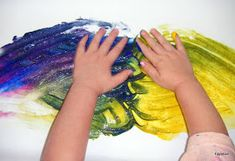 """For our """"sense of touch"""" art yesterday, we finger painted. But we didn't just use paint. We also added sand from our sensory table. The kid..."""