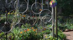Stephanie Alexander garden wheels for pea bean trellis, ingenious.