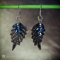 Blue glass bead lace earring  Spearshape leaf by OrientalColour
