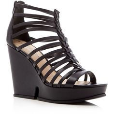 Via Spiga Walena Caged Platform Wedge Sandals ($290) ❤ liked on Polyvore featuring shoes, sandals, black, wedge heel sandals, via spiga sandals, black strappy sandals, wedges shoes and strappy platform sandals