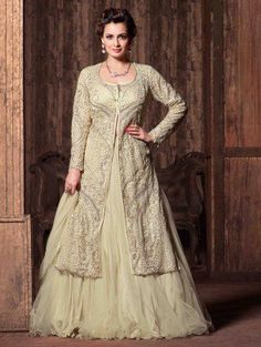 Cream Net Designer Suit with Embroidery Work