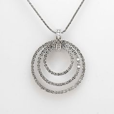 18k White Gold Round Brilliant Cut Diamond Triple Circle Pendant 1.25ctw