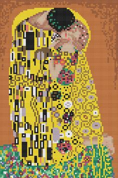 The Kiss by Klimt Cross Stitch Pattern PDF Chart Famous Painting Modern Art