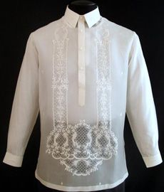 Barongsrus-Jusi Barong Tagalog A sharp style for an impeccable formal look. Fabric Color: Natural/Cream Classic Formal fit Straight collar, cuff buttons Traditional four-button front Philippines Dress, Barong Tagalog, Filipiniana Dress, Filipino Fashion, Tropical Fashion, First Communion Dresses, Line Shopping, Formal Looks, Traditional Dresses