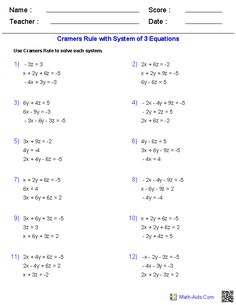 best mathaidscom images  school mathematics middle school maths cramers rule x algebra  worksheets maths