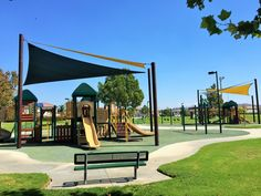 A full view of the playgrounds for big kids and little kids at Providence Ranch Park in Eastvale, California. http://youreastvalerealtor.com/eastvale-parks/