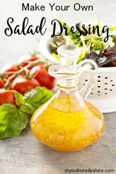 "How to make your own salad dressing. An easy video and salad dressing recipe for making your own salad dressing at home. I It is so quick and easy, you will wonder why you didn't create your own salad dressing recipe sooner! Everyone needs a ""house salad dressing'! www.myculturedpalate.com #salad #dressing #summerrecipes #easyrecipes #healthyfood #saladdressingrecipe"