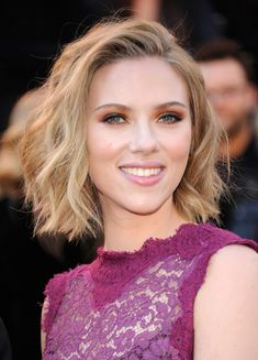 Use your natural texture to get Scarlett Johansson's easygoing bob. All you have to do is wash, tousle, air dry it, and go!  - GoodHousekeeping.com