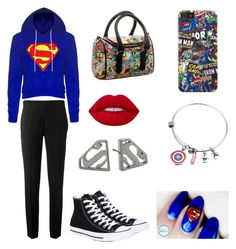 """Untitled #12"" by gracief-9 on Polyvore featuring Marvel Comics, Chloé, Converse, Bioworld, Lime Crime and Noir"