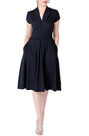 Feminine pleated knit dress