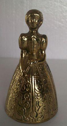 "Vintage Hampton Brass Edwardian Woman Figurative 4"" Lady Bell  Free USA Ship"