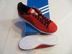 59 M Adidas Uomini Stan Smith White / Bianco / Rosso Pinterest