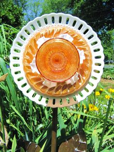 glass garden flower garden glass ceramic plate by ADelicateTouch1