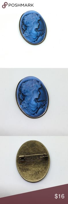 "🆕Vintage Midnight Blue Cameo Brooch An about 1.5"" x 1.25"" cameo in shades of dark blue to light blue. Obviously resin, but the colors and details just deepen the longer you look at this piece! In very good vintage condition, just some patina on the back of the setting. Dime shown for size reference in picture 4. A beautiful and unusual piece. Vintage Jewelry Brooches"