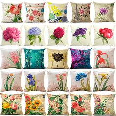 Maiyubo Vintage Flower Cushion Cover Cotton Linen Decorative Pillowcase Chair Seat Square Pillow Cover Home Living Textile PC442