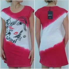"LONDON Urban Chic top NWT Brand new with tags  Tones of Pink and white tie dye top, with glamorous figurative print and words outlined with rhinestone details. Reddish words and heart/lips. At shoulders the pink tone has a faded looking adding even more detail. (Pic#4)  Size m/l 100% cotton Length approx 30""  There is a blemish from the manufactor on the back of shirt in the white area (pic 3) shirt is marked at a discount. Sold as-is, no returns. Tops Tees - Short Sleeve"