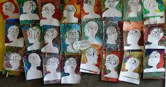 nejprve si děti vztvoří šablonu hlavy z profilu tak, že se vzájemně obkreslí, položí si hlavu na papír a spoužák obkreslí jeho profil  vy...