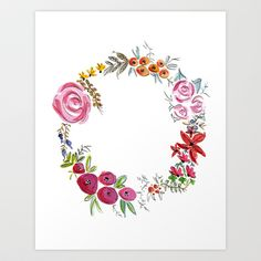 Watercolor Floral Wreath Art Print by Jenna Kutcher - $20.00