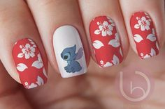 Items similar to Stitch Nail Decal Waterslide Nail Design Nails Press On Nail Decal Nail Design Nail ArtDisney decal disney characters Disney nails on Etsy designscute Nail Art Designs, Disney Nail Designs, Acrylic Nail Designs, Nails Design, Cute Nail Art, Cute Nails, Pretty Nails, My Nails, Disney Acrylic Nails