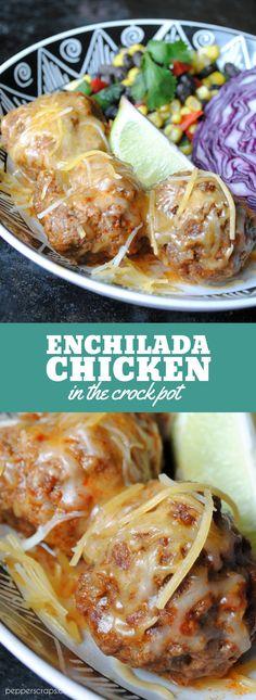 Enchilada Meatballs in the Crock Pot | Pepper Scraps
