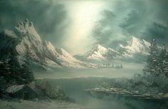 Bob Ross stormy winter painting