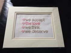 Cross Stitch Pattern - Perks of being a wallflower - We accept the love we think we deserve PDF