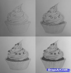 How to draw cupcakes Step 1 - Step 7