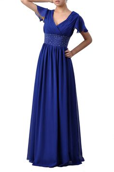 9a717c28e7e Beaded Chiffon Formal Prom A-line Full Length Sleeves Mother of the Bride  Dress