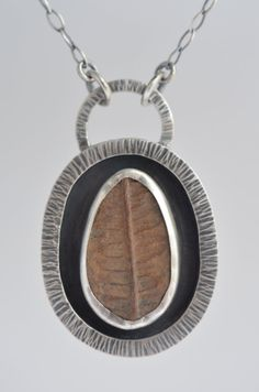 brown fern fossil sterling silver pendant by laurenmeredith