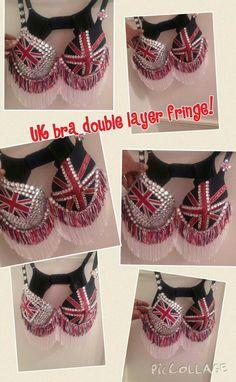 UK Rhinestone fringe bra any country flag possible shorter or longer white fringe by Smokinghotdivas on Etsy