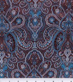 Brocade Fabric-Brown-Turquoise Tapestry : special occasion fabric: apparel fabric: fabric: Shop | Joann.com
