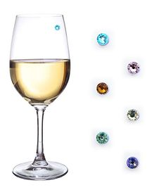 Swarovski Crystal Magnetic Drink Markers & Wine Charm Tags For Stemless Glasses, Beer Mugs, Champagne Flutes And More - Set Of 6, 2015 Amazon Top Rated Glass Markers #Kitchen
