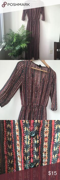 Long Sheer Boho Patterned Button-Up Tunic Instagram ready! This tunic is FIRE. Sheer fabric that floats around you & a comfortable elastic waist  that offers a lot of stretch. Buttons continue from the top of the V-neck front to about hip height. Wear this over a sundress, swim suit, or a T-shirt and jeans for a great on-trend look.  Size small, will fit up to a large. Worn one season, Perfect Condition. Forever 21 Tops Tunics